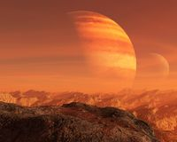 Surreal Alien Planet, Moon Background. Surreal alien planet world and moon landscape background. A blue sky and mountains comprise the scene. A flat rock and royalty free stock images