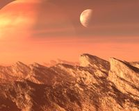 Surreal Alien Planet, Moon Background. Surreal alien planet world and moon landscape background. A blue sky and mountains comprise the scene. A flat rock and stock photography