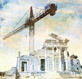 Surreal ancient roman temple in blue with big crane. Contrast Concept between ancient modern. Royalty Free Stock Photos