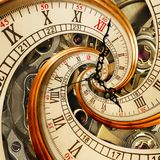 Surreal antique old clock abstract fractal spiral. Watch clocks with mechanism unusual abstract texture fractal pattern background. Old fashion clock roman Royalty Free Stock Image