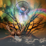 Surreal artisitc image. With time spiral Stock Photography
