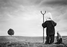 Surreal artistic photomanipulation of a little boy Stock Image