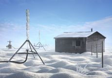 Surreal artistic winter image of a house and stand Stock Photography