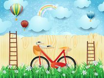 Surreal background with balloons, stairs and bike Stock Photos
