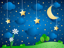 Surreal background with moon, clouds and flowers Stock Photos