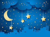 Surreal background with moon and skyline. Vector illustration eps10 Royalty Free Stock Photos