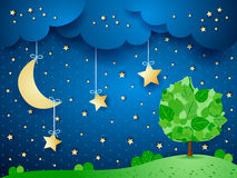 Surreal background with moon and tree. Vector illustration eps10 Royalty Free Stock Photo