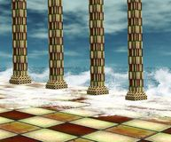 Surreal background with water. Fantasy background with columns and waves Royalty Free Stock Image