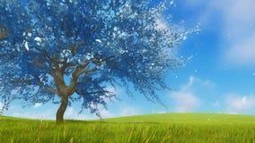 Surreal blue sakura cherry tree in full blossom 3D vector illustration
