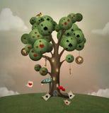 Surreal boom van het sprookjesland met pookkaarten stock illustratie