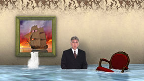Surreal Business, Businessman, Sales, Marketing. A surreal scene of a tall sailing ship painting with a waterfall coming out of the frame and the water causing a stock photography