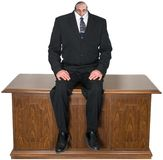Surreal Business, Office Desk, Isolated, Man, Small Head stock photo