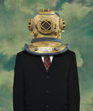 Surreal Business Suit, Diving Helmet. Surreal business suit and tie background with a diving helmet for a head. Concept for sales and marketing. Businessman Stock Photos