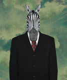 Surreal Business Suit, Wildlife Zebra. Surreal business suit and tie background with a wildlife zebra for a head. Concept for sales and marketing. Businessman Stock Images