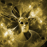 Surreal carnival mask and fractal pattern from a grid and bright Royalty Free Stock Images