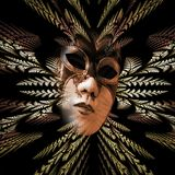 Surreal carnival mask and fractal pattern of the leaves as diver Royalty Free Stock Photography