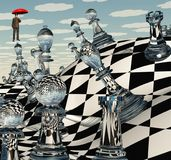 Surreal Chess Landscape. 3D rendering Royalty Free Stock Photography