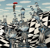 Surreal Chess Landscape. With Floating Man Stock Photos