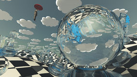 Surreal Chess Landscape. With hovering man Royalty Free Stock Images