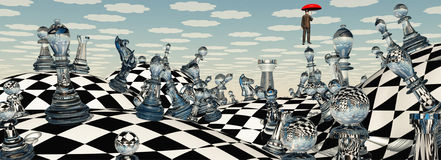Surreal Chess Landscape. With Man Royalty Free Stock Photos