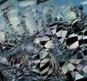 Surreal Chess Landscape. Man flies with red umbrella. 3D rendering Stock Image