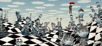 Surreal Chess Landscape. Surreal Serene Chess Landscape with Floating Man Royalty Free Stock Photo