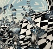 Surreal Chess Landscape. 3D rendering Stock Images