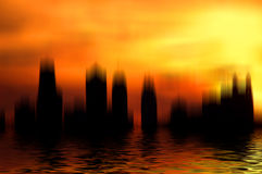 Surreal City. Surrealistic city scene with reflection Royalty Free Stock Photography