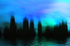 Surreal City in Blue. Surrealistic city scene with watery reflection in shades of blue Stock Photography