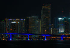 Surreal City Lights. Miami City Downtown at Night stock images
