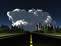 Surreal City night roadway Stock Images