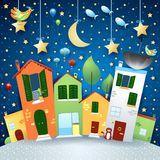 Surreal city road in cartoon style, by night. Vector illustration eps10 stock illustration