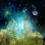 Surreal city skyline in the night with starry sky. And full moon Royalty Free Stock Images