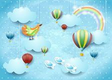 Surreal cloudscape with balloons, bird and flying fishes. Vector illustration eps10 royalty free illustration
