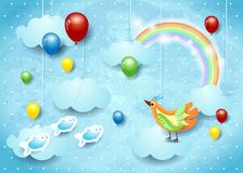 Surreal cloudscape with balloons, bird and flying fishes. Vector illustration eps10 vector illustration