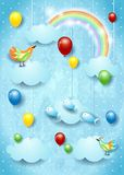 Surreal cloudscape with balloons, birds and flying fisches. Vector illustration eps10 vector illustration