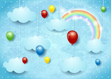 Surreal cloudscape with colorful balloons Stock Images
