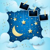 Surreal cloudscape with hanging stars and photo frames. Vector illustration eps10 vector illustration