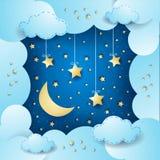 Surreal cloudscape met maan en hangende sterren Stock Foto