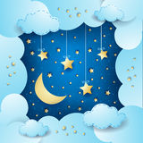 Surreal cloudscape with moon and hanging stars Stock Photo