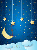 Surreal cloudscape with moon, stars and ladder. Vector illustration eps10 Royalty Free Stock Images
