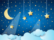 Surreal cloudscape by night with moon and hanging stars Royalty Free Stock Photography