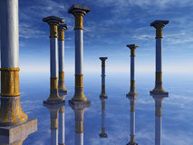 Surreal Columns on Horizon. An abstract illustration background of stone columns on a mirrored floor horizon reflecting blue sky and clouds vector illustration