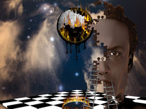 Surreal Composition. With Burning Clock and other Strange Elements Stock Photos