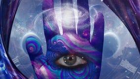 Eye in human palm