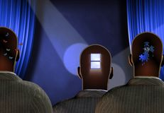 Art Thoughts. Surreal composition. Men stands before blue curtains. Different thoughts inside their heads. Human elements were created with 3D software and are Stock Photography