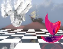 Subconscious Dreams. Surreal composition. Pink matter on chessboard, ancient ship on sand dune and falling paper man royalty free illustration