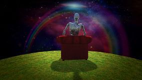 Rusted Alien. Surreal composition. Rusted alien sits in red armchair and observer vivid universe. 3D rendering Royalty Free Stock Photos