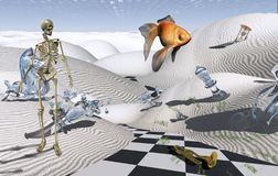 Surreal Consciousness. Checkered road in white desert. Skeleton and golden fish. 3D rendering stock illustration