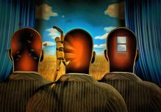 Surreal consciousness. Men with dreams in their head stands before drapes. Field behind drapes. Human elements were created with 3D software and are not from royalty free illustration